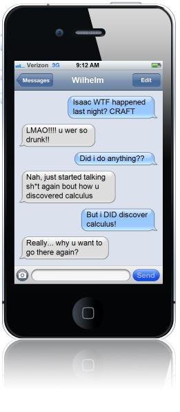 iPhone Text Newton Leibniz