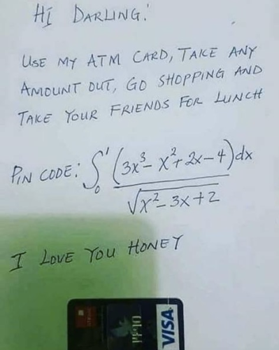 image of a handwritten note, with a definite integral given as the PIN code for an ATM card