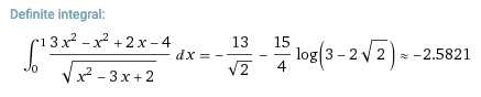 calculation from Wolfram Alpha showing the value of a definite integral