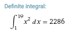 definite integral of x-squared dx from 1 to 19
