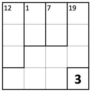 No-Op KenKen puzzle with target numbers from today's date